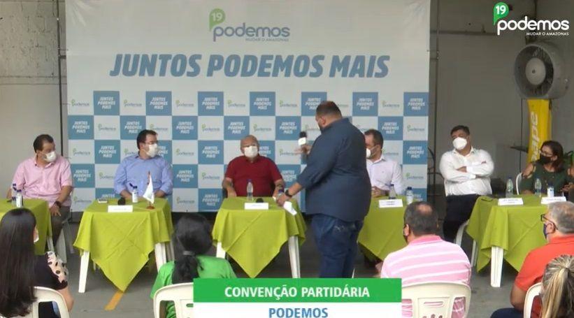 Junto com Braga, Amazonino ataca Wilson Lima e David Almeida em convenção do Podemos